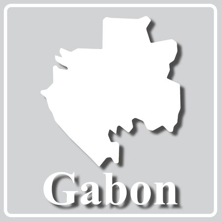 gray square icon with white map silhouette and inscription Gabon