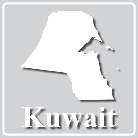 gray square icon with white map silhouette and inscription Kuwait
