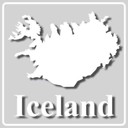 gray square icon with white map silhouette and inscription Iceland