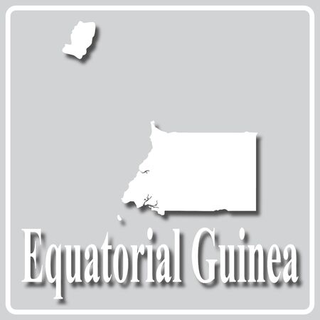 gray square icon with white map silhouette and inscription Equatorial Guinea