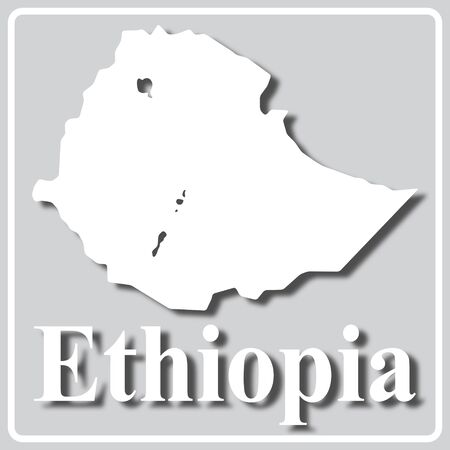 gray square icon with white map silhouette and inscription Ethiopia