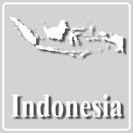 gray square icon with white map silhouette and inscription Indonesia Ilustração