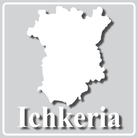 gray square icon with white map silhouette and inscription Ichkeria Ilustração