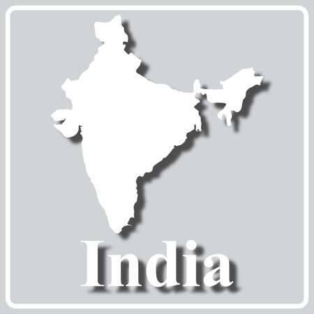 gray square icon with white map silhouette and inscription India Ilustração