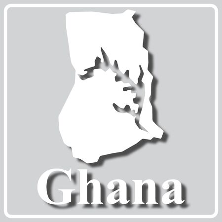 gray square icon with white map silhouette and inscription Ghana