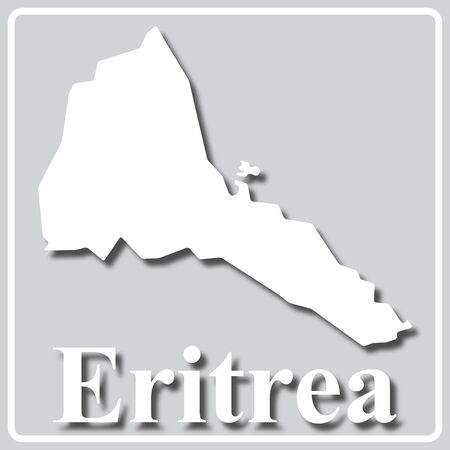 gray square icon with white map silhouette and inscription Eritrea