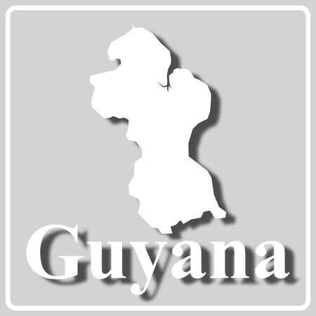 gray square icon with white map silhouette and inscription Guyana