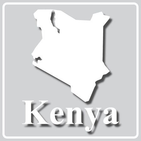 gray square icon with white map silhouette and inscription Kenya