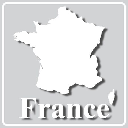 gray square icon with white map silhouette and inscription France