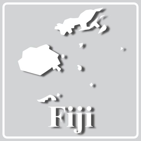 gray square icon with white map silhouette and inscription Fiji Ilustração