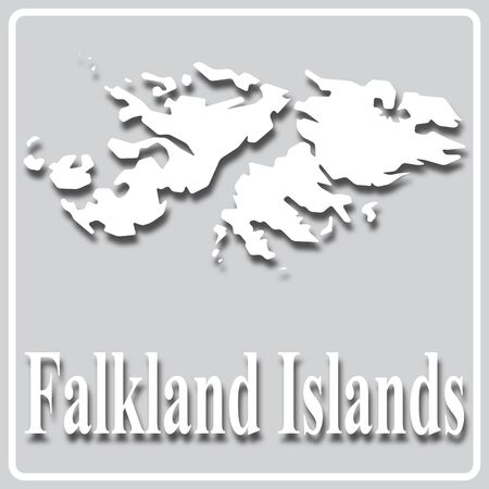 gray square icon with white map silhouette and inscription Falkland Islands