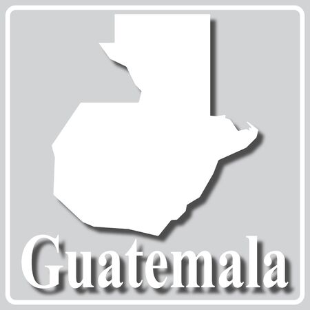 gray square icon with white map silhouette and inscription Guatemala