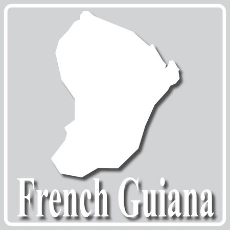 gray square icon with white map silhouette and inscription French Guiana Ilustração