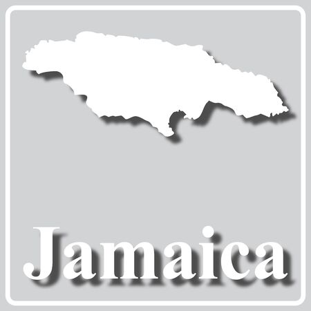 gray square icon with white map silhouette and inscription Jamaica Ilustração