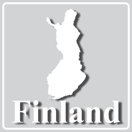gray square icon with white map silhouette and inscription Finland