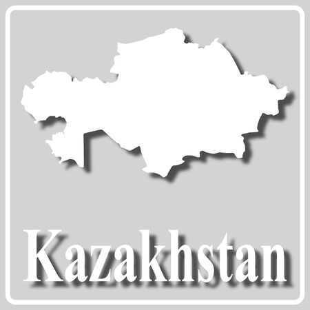gray square icon with white map silhouette and inscription Kazakhstan