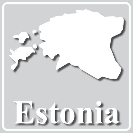 gray square icon with white map silhouette and inscription Estonia Ilustração