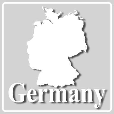 gray square icon with white map silhouette and inscription Germany Ilustração