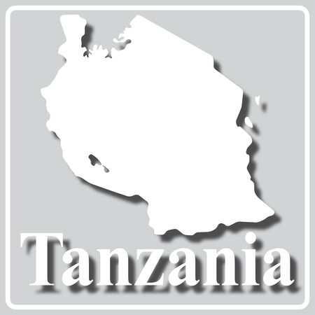 gray square icon with white map silhouette and inscription Tanzania