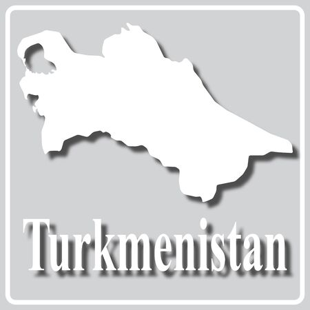 gray square icon with white map silhouette and inscription Turkmenistan Ilustração