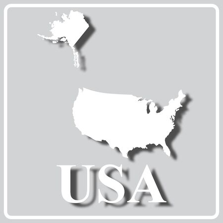 gray square icon with white map silhouette and inscription USA
