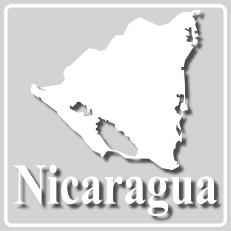 gray square icon with white map silhouette and inscription Nicaragua Ilustração