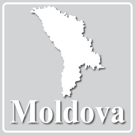 gray square icon with white map silhouette and inscription Moldova Ilustração
