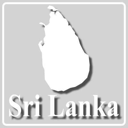 gray square icon with white map silhouette and inscription Sri Lanka Ilustração