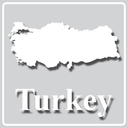gray square icon with white map silhouette and inscription Turkey