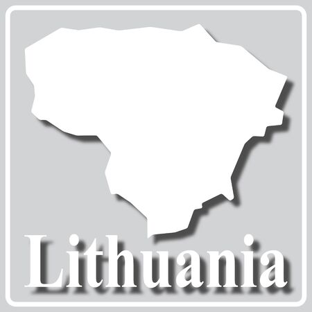 gray square icon with white map silhouette and inscription Lithuania Ilustração