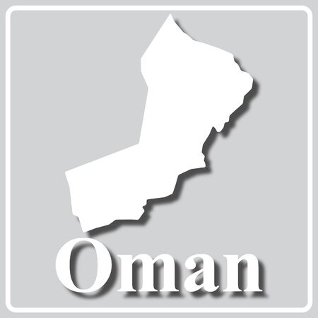 gray square icon with white map silhouette and inscription Oman