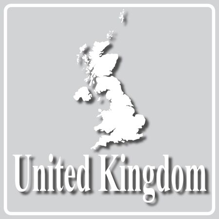 gray square icon with white map silhouette and inscription United Kingdom Ilustração