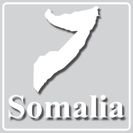 gray square icon with white map silhouette and inscription Somalia