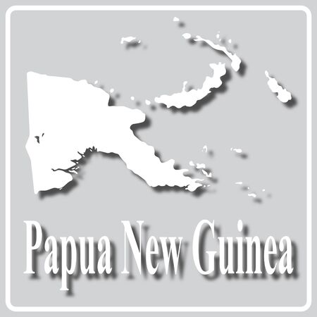 gray square icon with white map silhouette and inscription Papua New Guinea Ilustração