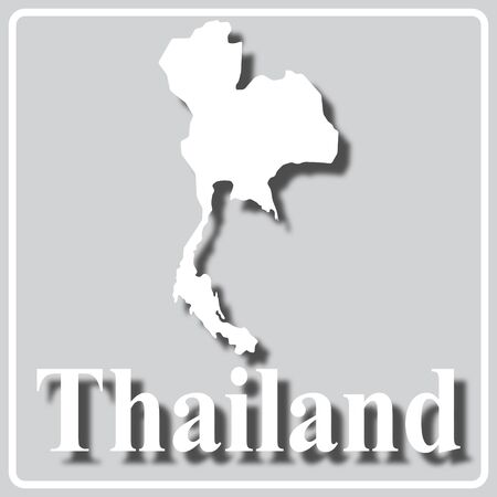 gray square icon with white map silhouette and inscription Thailand