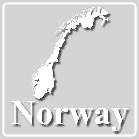 gray square icon with white map silhouette and inscription Norway