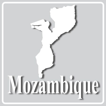 gray square icon with white map silhouette and inscription Mozambique