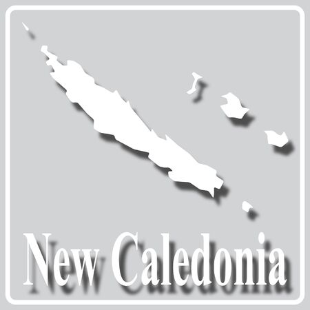 gray square icon with white map silhouette and inscription New Caledonia