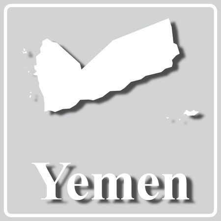 gray square icon with white map silhouette and inscription Yemen
