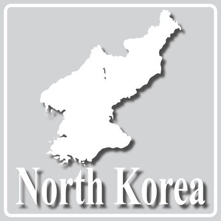 gray square icon with white map silhouette and inscription North Korea Ilustração