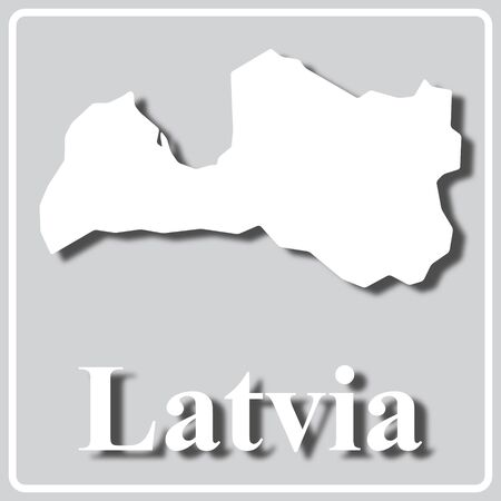gray square icon with white map silhouette and inscription Latvia