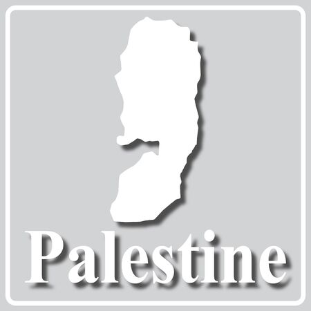 gray square icon with white map silhouette and inscription Palestine Ilustração
