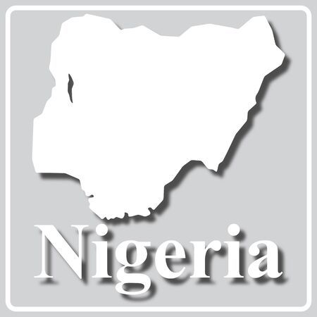 gray square icon with white map silhouette and inscription Nigeria