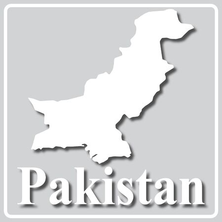 gray square icon with white map silhouette and inscription Pakistan