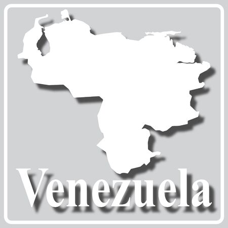 gray square icon with white map silhouette and inscription Venezuela Ilustração