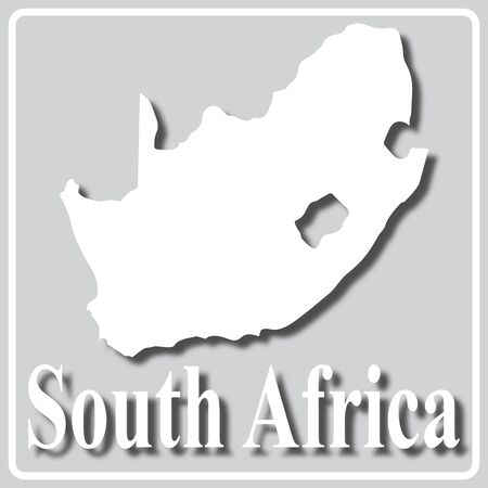 gray square icon with white map silhouette and inscription South Africa