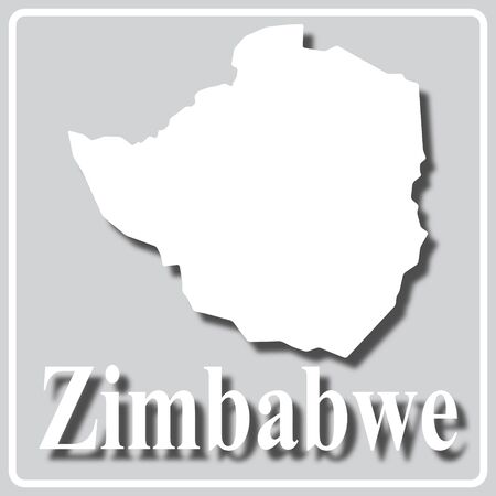 gray square icon with white map silhouette and inscription Zimbabwe