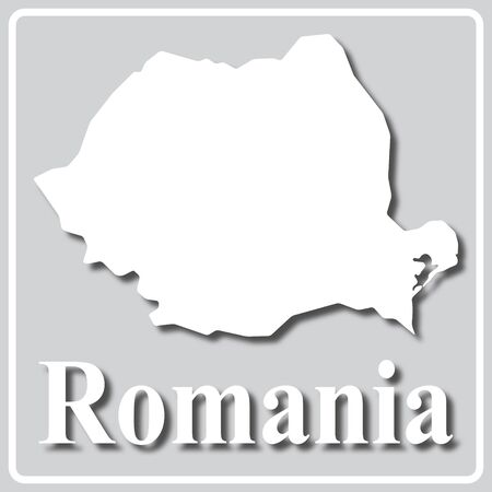 gray square icon with white map silhouette and inscription Romania Ilustracja