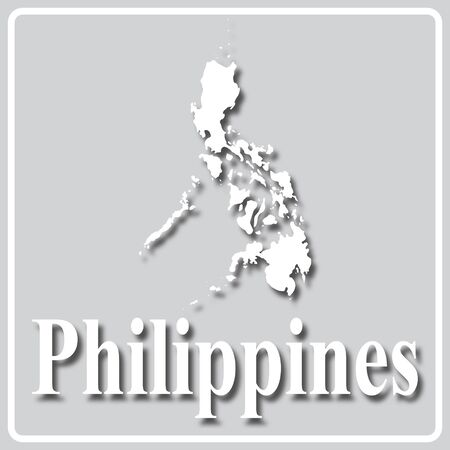gray square icon with white map silhouette and inscription Philippines