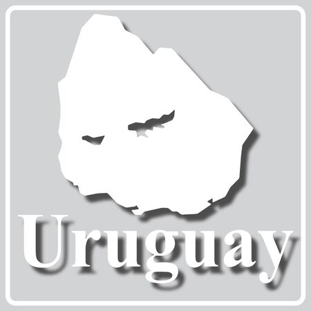 gray square icon with white map silhouette and inscription Uruguay